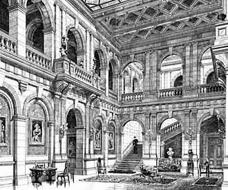 Heythrop Park - Alfred Waterhouse's hall at Heythrop Park; described by Pevsner, as in the style of Vanbrugh, can be compared to Vanbrugh's hall at Grimsthorpe Castle. The theme is that of the courtyard of a Renaissance palazzo. Paxton designed a similar courtyard hall with a glazed roof at Mentmore Towers twenty years earlier.