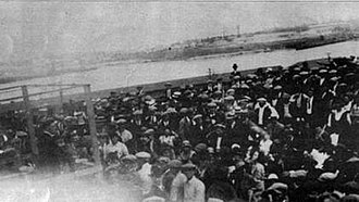 1923 San Pedro maritime strike - Liberty Hill, circa April or May 1923. Right background shows Terminal Island and then Southwestern Shipyard (forerunner to Bethlehem). The speaker on platform at left has been identified by Bob Bigelow as fellow worker F.W.Yelovich.