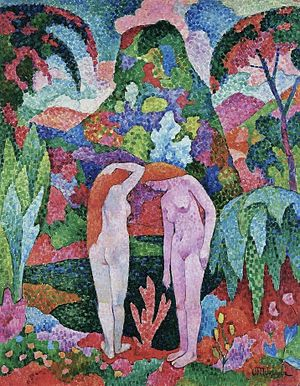 Jean Metzinger, 1905-06, Baigneuse, Deux nus dans un jardin exotique (Two Nudes in an Exotic Landscape), oil on canvas, 116 x 88.8 cm.jpg