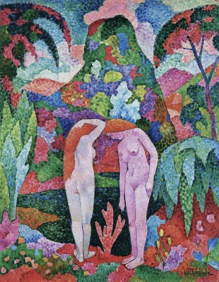 Jean Metzinger, 1905-06, Baigneuse, Deux nus dans un jardin exotique (Two Nudes in an Exotic Landscape), oil on canvas, 116 x 88.8 cm