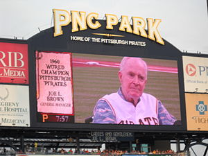 Joe L. Brown - Image of Joe L. Brown taken from the scoreboard of PNC Park on June 19, 2010 in Pittsburgh, Pennsylvania. during the pre-game activities honoring the 50th anniversary of the 1960 Pittsburgh Pirates World Series team.