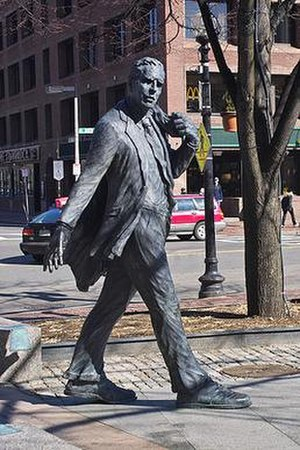 Kevin White (mayor) - A statue outside Boston's Faneuil Hall honors four-term Boston mayor Kevin White.