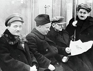 Lavrentiy Beria - Nestor Lakoba, Nikita Khrushchev, Lavrenti Beria and Aghasi Khanjian during the opening of the Moscow Metro in 1936. The same year Lakoba and Khanjian were killed by Beria.