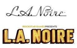 "The top image displays the original logo: ""L.A. Noire"", written in shiny, cursive, silver-and-black font. The bottom displays the final logo: ""ROCKSTAR GAMES PRESENTS"" above ""L.A. Noire"", which is written in a much thicker, yellow-and-black font."