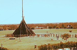 Aggie Bonfire - An Aggie Bonfire under construction in the late 1950s