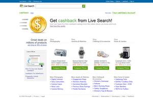 Bing Shopping - A screenshot of Bing Cashback homepage