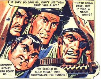 "Luck of the Legion - Corporal Trenet (top left), Legionnaire Bimberg (bottom left), Sergeant ""Tough"" Luck (centre), art by Martin Aitchison"