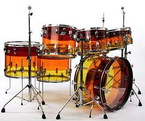 "Vistalite Drums - A Vistalite drumset in the ""Tequila Sunrise"" colour scheme"