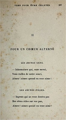old and discoloured page of printed volume of French verse