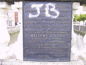 Mellows Bridge - National Graves Association plaque (in Irish and English) noting renaming of bridge