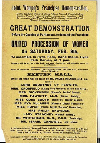 Mud March (suffragists) - Poster advertising the march and meeting, 9 February 1907