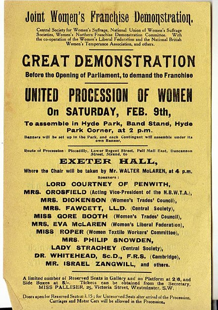 Poster advertising the march and meeting, 9 February 1907