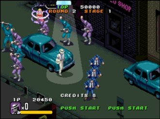 Michael Jackson's Moonwalker - Screenshot of Michael Jackson's Moonwalker arcade game