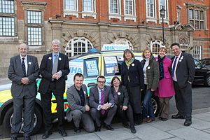 National Health Action Party - NHA campaign launch 2015. From left to right: Richard Taylor, Paul Hobday, John Lamport, Clive Peedell, Helen Salisbury, Karen Howell, Roseanne Edwards, Louise Irvine, Dave Ash.