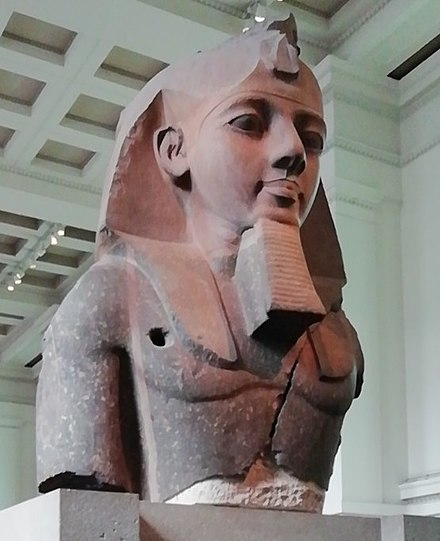 The Younger Memnon: part of colossal statue of Ramesses from Ramesseum, now in British Museum Ramesses II at BM.jpg