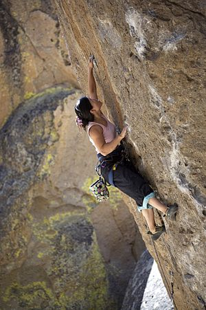 Types of climbing - Climber leading the sport route Spud Boy,  Clark Canyon, California, United States