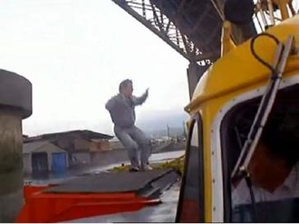 Rumble in the Bronx - Jackie Chan's right foot lands at a bad angle after jumping onto the hoverboat, causing a serious injury that would not heal for the remainder of filming. The shot still made it into the finished movie.
