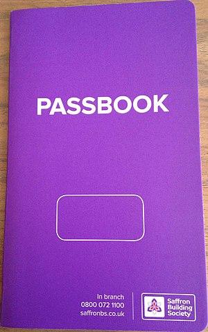Passbook - Image: Saffron Building Society Passbook