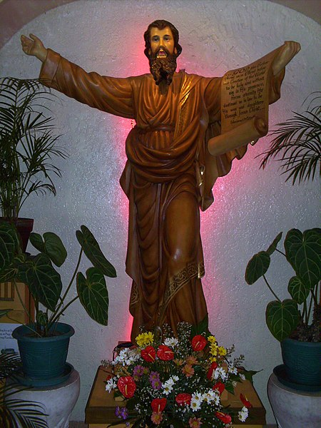 A statue of Saint Paul the Apostle at the parish dedicated to him in the Roman Catholic Diocese of Cubao dans images sacrée 450px-Saint_Paul_the_Apostle_at_the_Diocese_of_Cubao