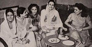 Sardar Akhtar - Sardar Akhtar, Bahar (Mrs. A. R. Kardar), Rita Carlyle, Naseem Banu, and Flo Gubby