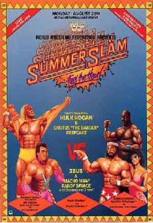 SummerSlam (1989) - Promotional Poster showcasing Hulk Hogan, Brutus Beefcake, Randy Savage, Zeus, and Sensational Sherri