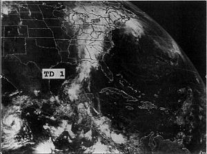 1989 Atlantic hurricane season - Image: TD1 1989 June 16 1601 UTC