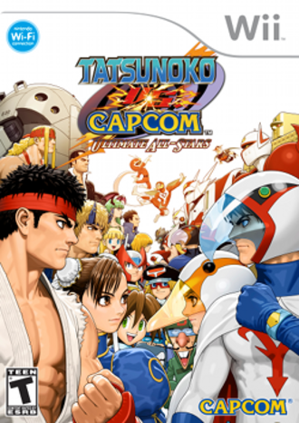 Tatsunoko vs. Capcom: Ultimate All-Stars - North American box art depicting the Capcom and Tatsunoko characters on the left and right, respectively