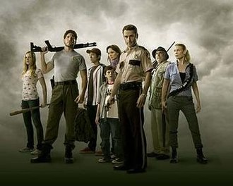 The Walking Dead (season 1) - The primary characters of the first season include (from left to right): Amy, Shane, Glenn, Carl, Lori, Rick, Dale, and Andrea