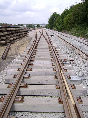 Erewash Valley line - Installation of the new slow to fast crossover at Trowell Junction