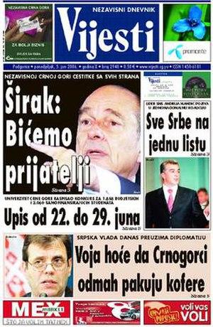 Vijesti - Image: Vijesti 5June 2006