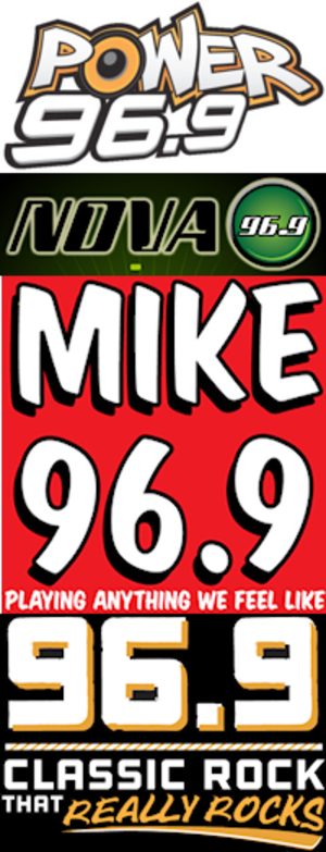 "WBQT (FM) - Stunt logos as ""Power 96.9"", ""Nova 96.9"", ""96.9 Mike FM"" and ""96.9 The Bone""."