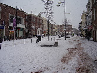 High Wycombe - High Wycombe town centre covered by snow in February 2007