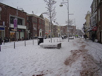 High Wycombe Town Centre covered by snow in Fe...