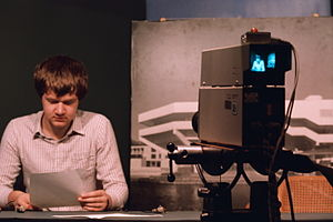 York Student Television - Keith Hide-Smith broadcasts on YSTV, October 1985.