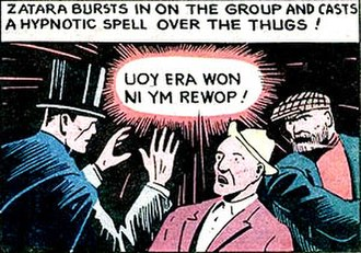 Zatara - First appearance in Action Comics #1, in which Zatara often--but not exclusively--used backwards speech to accomplish his magic.