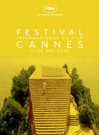 2016 Cannes Film Festival - Official poster of the 69th Cannes Film Festival featuring a still from Jean-Luc Godard's 1963 film Contempt, with Michel Piccoli ascending the Casa Malaparte