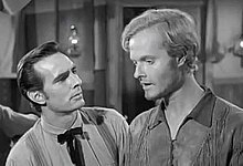 Actor Robert Easton with Dennis Weaver on Gunsmoke 1955.jpg