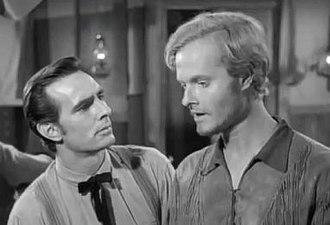 Robert Easton (actor) - Robert Easton (right) with fellow actor Dennis Weaver on the CBS series Gunsmoke, 1955.