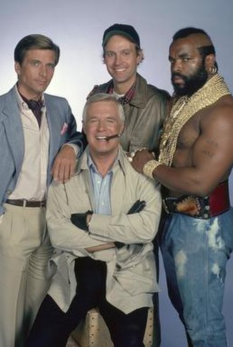 "The A-Team - The main cast of The A-Team. Clockwise from top: H.M. ""Howlin' Mad"" Murdock, B. A. Baracus, John ""Hannibal"" Smith and Templeton ""Faceman"" Peck."