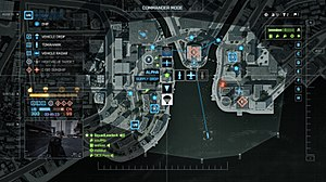 "Battlefield 4 - The new Commander Mode interface in Battlefield 4, showing an overhead view of the map ""Siege of Shanghai"""