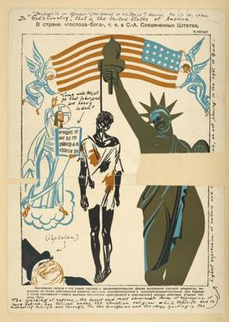 And you are lynching Negroes - 1930 print from the Soviet Bezbozhnik u Stanka magazine, showing a lynched Black American hanging from the Statue of Liberty.