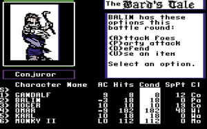 The Bard's Tale (1985 video game) - A screenshot of The Bard's Tale on the Commodore 64.