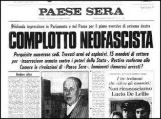 Golpe Borghese - Image: Complotto neofascista