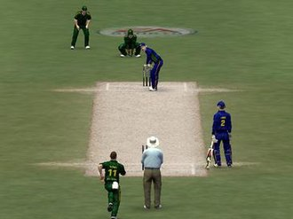 Cricket 07 - In-game screenshot of Cricket 07, showing a ODI match between Australia (in green) and Sri Lanka (in blue)