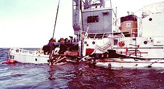USCGC Cuyahoga (WIX-157) - USCGC Cuyahoga being raised