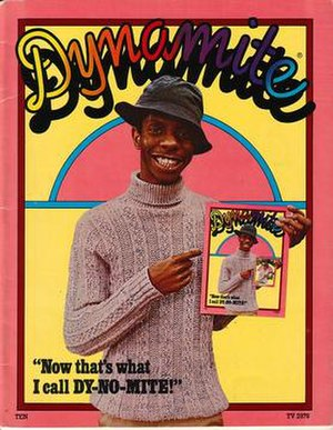 "Dynamite (magazine) - The April 1975 issue of Dynamite featured a Droste effect image of TV star Jimmie Walker, whose catch phrase was ""Dy-no-mite!""."