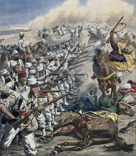 A drawing showing French Foreign Legion troops in action against tribesmen in Morocco in 1908. The legionnaires are incorrectly shown wearing the red sashes of native regiments and not the medium blue of the Legion Fflmorocco.png