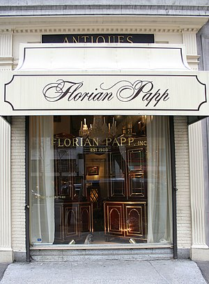 Florian Papp - Front window of the Florian Papp Gallery at 962 Madison Ave.