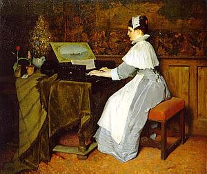 Gabriel von Max -  Still Life (Girl at a Spinet) (1871)