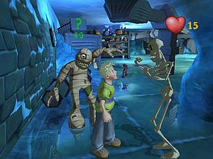 Grabbed by the Ghoulies - A still image from the game, showing Cooper about to engage in combat with ghouls